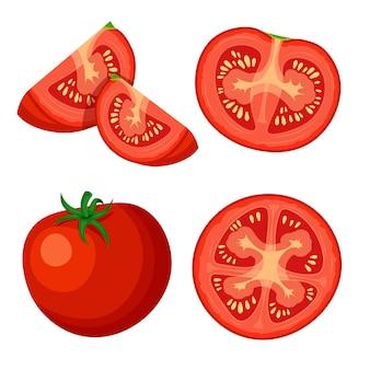 Zestaw świeżych całość, pół, pokrojony plasterek i kawałek pomidora na białym tle. wegańskie ikony warzyw żywności w modnym stylu kreskówek. koncepcja zdrowej żywności.
