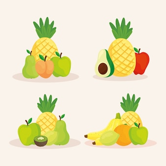 Zestaw świeżych i pysznych owoców