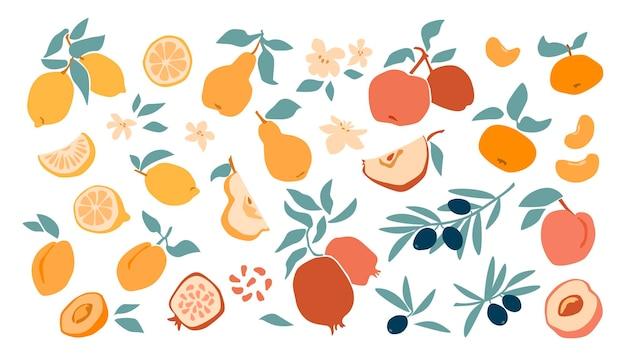 Zestaw świeżych owoców cytryny, brzoskwinia, jabłko, mandarynka, morela, granat, oliwka w ręku rysunek styl na białym tle. płaskie ilustracji wektorowych. projektowanie tekstyliów, etykiet, plakatów, kartek