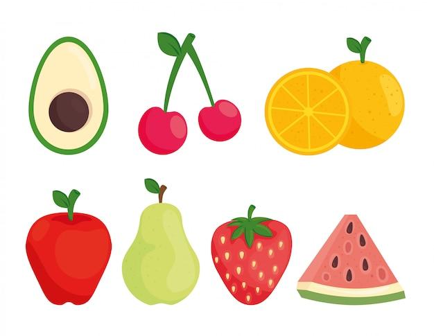 Zestaw świeżych owoców i awokado