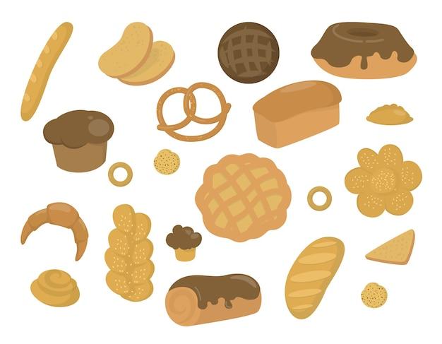 Zestaw świeżych produktów piekarniczych. chleb, ciastka, bagietki i inne wypieki. ilustracja w stylu kreskówki