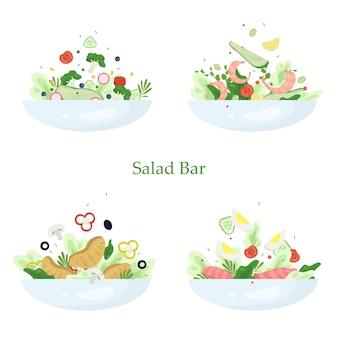 Zestaw świeżych sałatek organicznych. zdrowy obiad z warzyw
