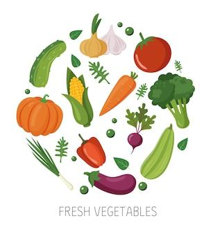 Zestaw świeżych warzyw w kręgu zdrowej żywności na białym tle