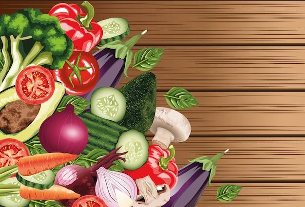 Zestaw świeżych warzyw w podłoże drewniane