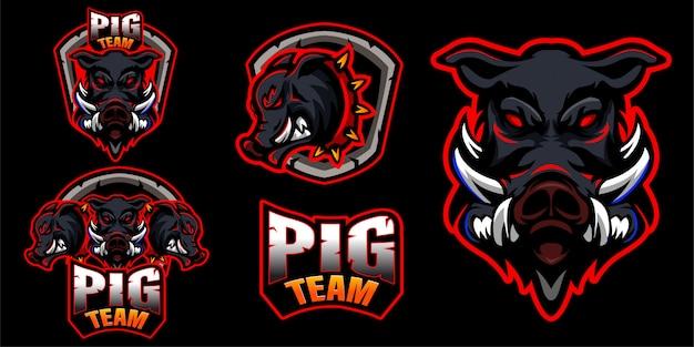 Zestaw świń wieprzowina logo zwierząt