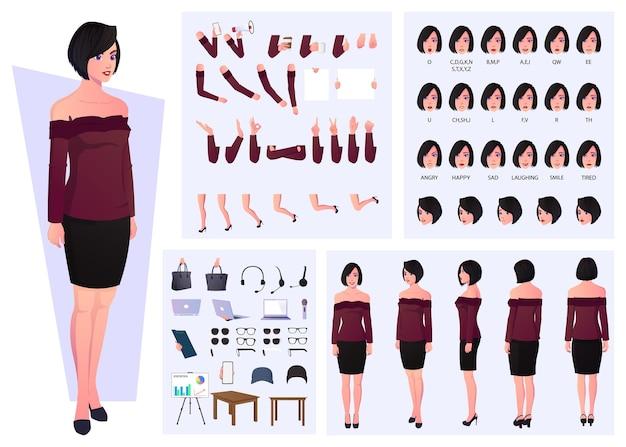 Zestaw Swobodnych Postaci Kobiecych Z Emocjami, Wyrażeniami, Gestami I Synchronizacją Ust Premium Wektorów