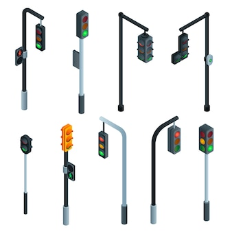 Zestaw sygnalizacji świetlnej. izometryczny zestaw sygnalizacji świetlnej