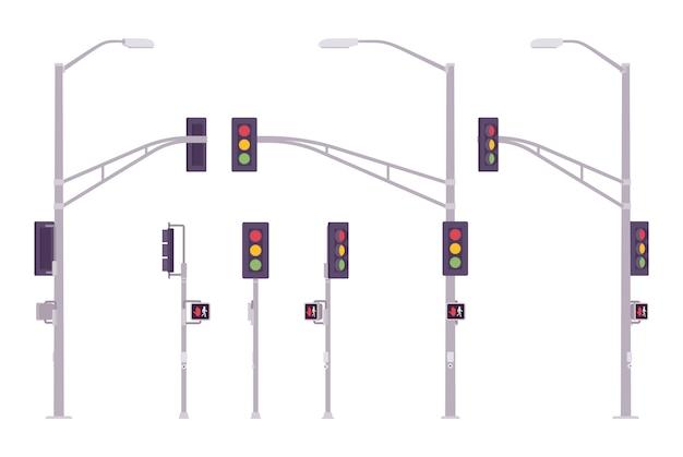 Zestaw sygnalizacji świetlnej. miejski system kolorowych świateł kontrolujących ruch na skrzyżowaniach, skrzyżowaniach, kierunkowskazów. architektura krajobrazu i urbanistyka. ilustracja kreskówka styl