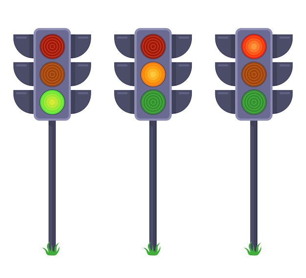 Zestaw sygnalizacji świetlnej przedstawiających sygnały w różnych kolorach. płaska ilustracja na białym tle.