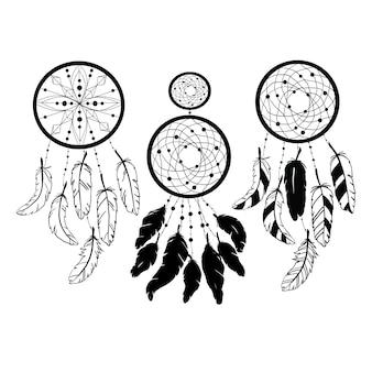 Zestaw sylwetek łapacza snów, ilustracja etniczna na białym tle