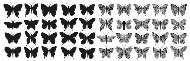 Zestaw sylwetka czarno na białym tle motyl. graficzne wycinanie owadów.