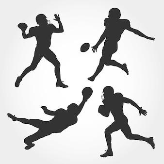 Zestaw sylwetka futbolu amerykańskiego gracza