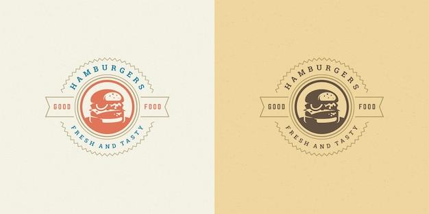 Zestaw sylwetka hamburgera dobre dla menu restauracji i odznaka kawiarni