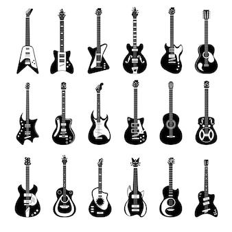 Zestaw sylwetka instrumentów muzycznych gitary elektrycznej i akustycznej. koncert basowy, jazz, pop, heavy metal, klasyczny muzyk strunowy sprzęt wektor ilustracja na białym tle