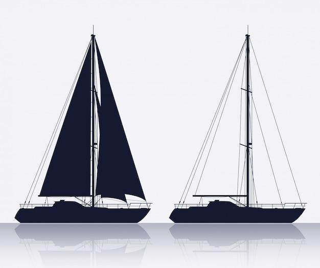 Zestaw sylwetka luksusowych jachtów