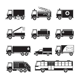 Zestaw sylwetka obiektu pojazdów użyteczności publicznej ciężarówki i autobusy