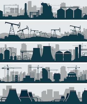 Zestaw sylwetka panoramę przemysłową