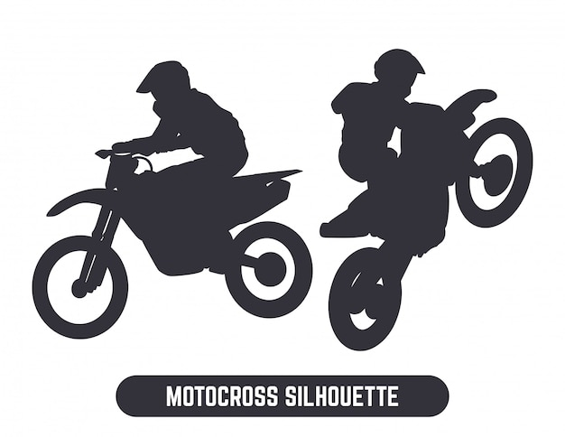 Zestaw sylwetka skok motocross