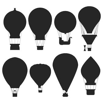 Zestaw sylwetki balonów na ogrzane powietrze