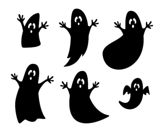 Zestaw sylwetki czarnych duchów na białym tle. kolekcja duchów do projektowania postaci halloween. halloweenowe straszne potwory.