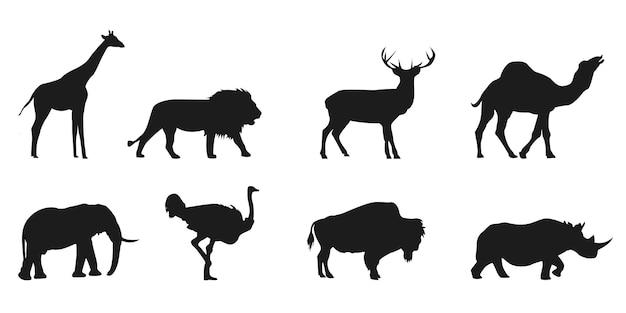 Zestaw sylwetki dzikich zwierząt