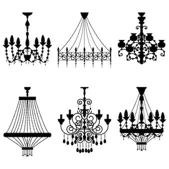 Zestaw sylwetki kryształowy żyrandol. vintage klasyczny połysk na białym tle.
