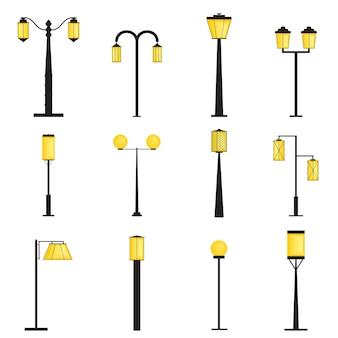 Zestaw sylwetki latarni ulicznych. oświetlenie. płaski styl. żółte światło lampy. słup latarni ulicznej. kolekcja elementów zewnętrznych. ilustracja wektorowa.
