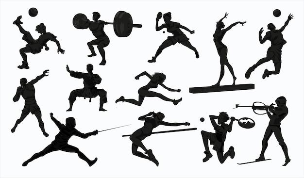 Zestaw sylwetki ludzi sportu. koszykówka, piłka nożna, karate, tenis, sprint, gimnastyka, sztangista
