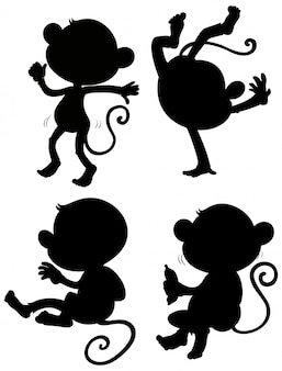 Zestaw sylwetki małpy