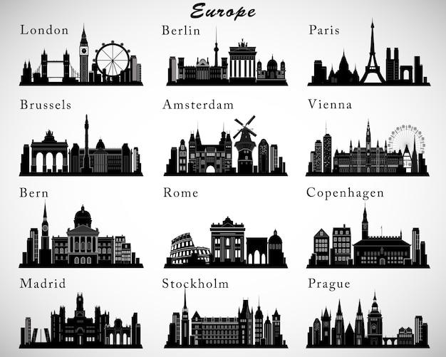 Zestaw sylwetki na tle nieba miast europejskich. sylwetki