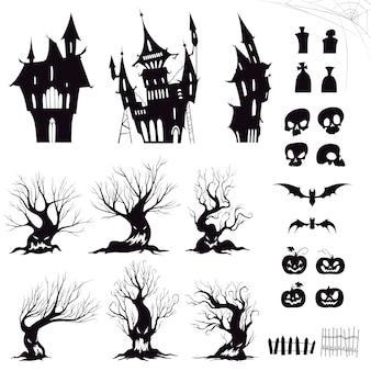 Zestaw sylwetki ponury dom halloween, złowrogie drzewa, ogrodzenia, groby, czaszki, dynie i nietoperze.