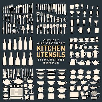 Zestaw sylwetki przyborów kuchennych