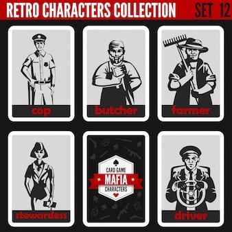 Zestaw sylwetki retro starodawny ludzi. policjant, rzeźnik, rolnik, stewardessa, ilustracje zawodów kierowców.
