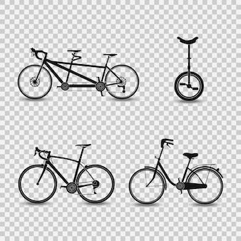 Zestaw sylwetki rowerów na przezroczystym tle. vintage, sportowe, górskie. rowery.