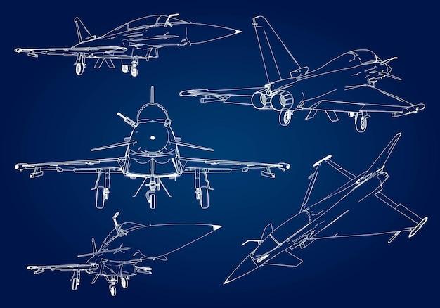Zestaw sylwetki wojskowego myśliwca. obraz samolotu w konturowe linie rysunkowe.