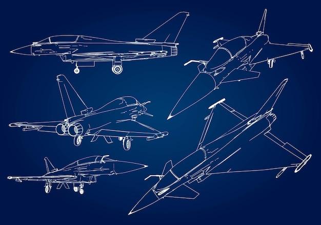 Zestaw sylwetki wojskowych myśliwców. obraz samolotu w konturowe linie rysunkowe.