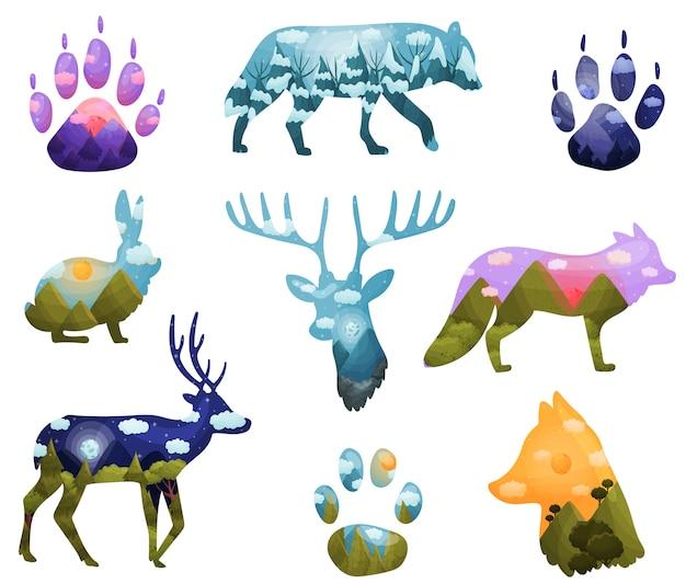 Zestaw sylwetki zwierząt z krajobrazami wewnątrz
