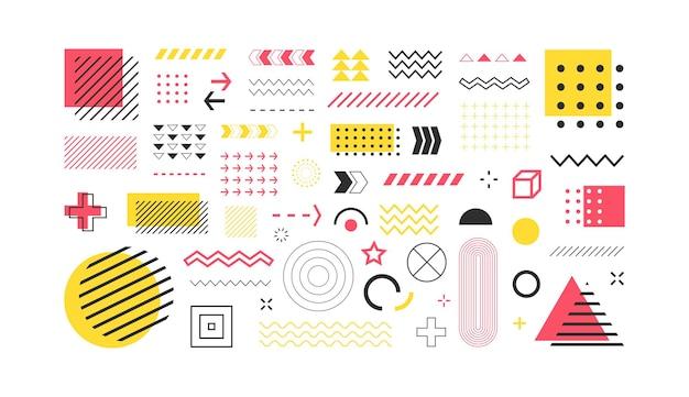 Zestaw symboli abstrakcyjnych kształtów geometrycznych i elementów na białym tle