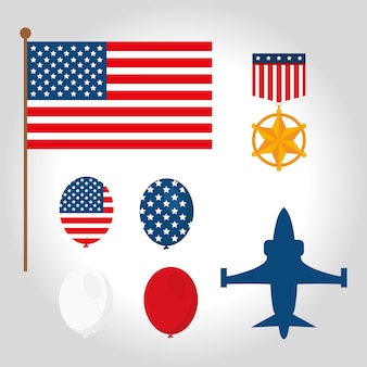 Zestaw symboli amerykańskich weteranów wojennych