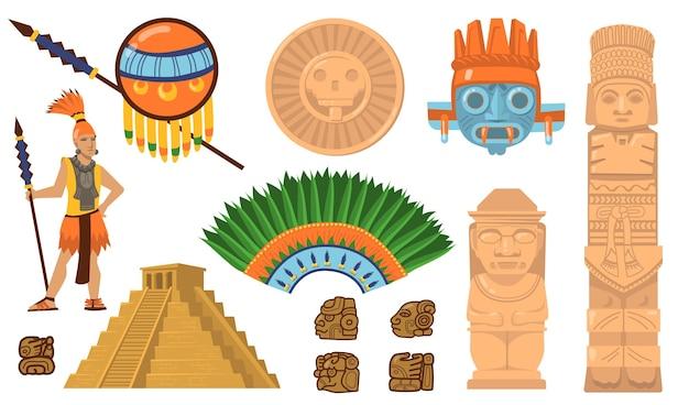 Zestaw symboli azteków i majów. starożytna piramida, wojownicy inków, maski etniczne, artefakty bogów i idoli. płaskie ilustracje wektorowe kultury meksykańskiej, koncepcja tradycyjnych dekoracji