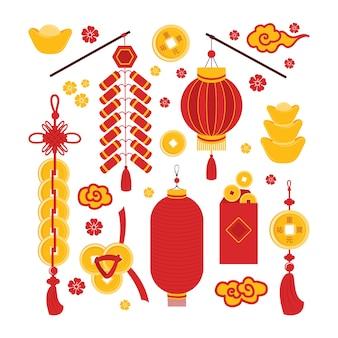 Zestaw symboli chińskiego nowego roku powodzenia, dobrobytu i bogactwa na białym tle. tradycyjne elementy azjatyckie