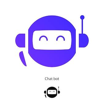 Zestaw symboli czatu bota na białym tle dla ikony wirtualnego asystenta, mów ikonę mowy bąbelkowej