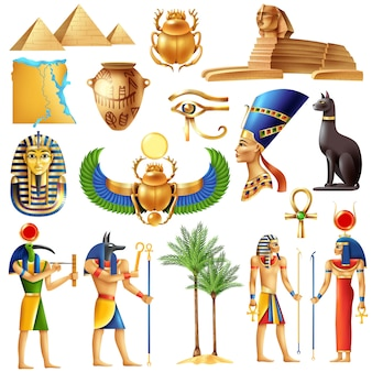 Zestaw symboli egiptu