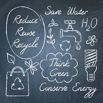 Zestaw symboli ekologii tablica i napis