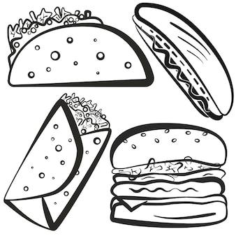 Zestaw symboli fast foodów z czarnym konturem, w tym hamburger, tacos, burrito, hot dog