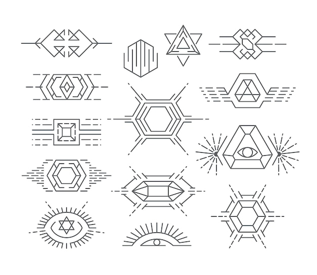 Zestaw symboli geometrycznych, logotypy liniowe i elementy projektu.