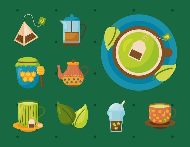Zestaw symboli herbaty, czas napój śniadanie i ilustracja motywu napojów