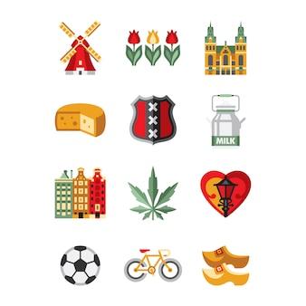 Zestaw symboli i zabytków holandii