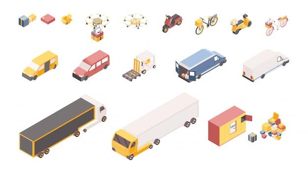 Zestaw symboli izometryczne ilustracje usługi dostawy. różne pojazdy transportowe, magazyn firmy logistycznej na białym tle