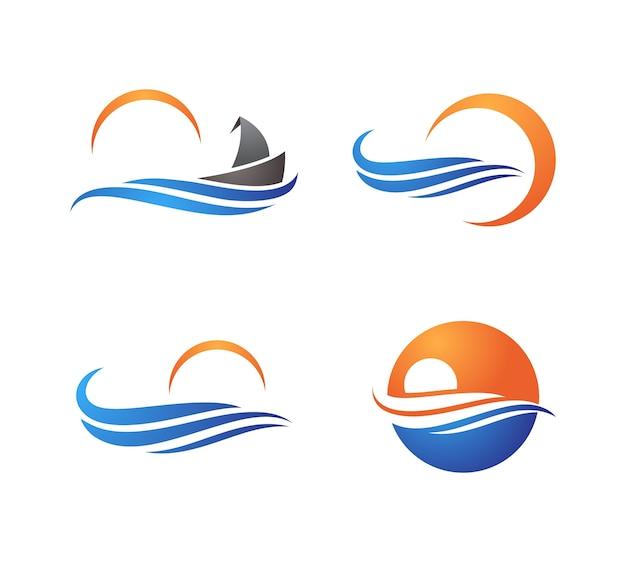 Zestaw symboli kreatywnych ocean wave logo